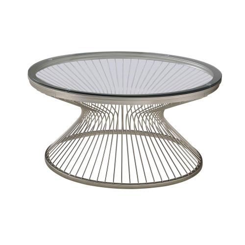 Round Glass Top Coffee Table Satin Grey