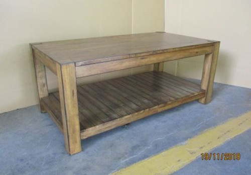 Rectangular Coffee Table With Lower Shelf Rustic Brown