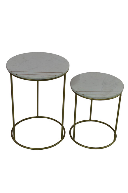 2-piece Round Marble Top Nesting Tables White And Gold