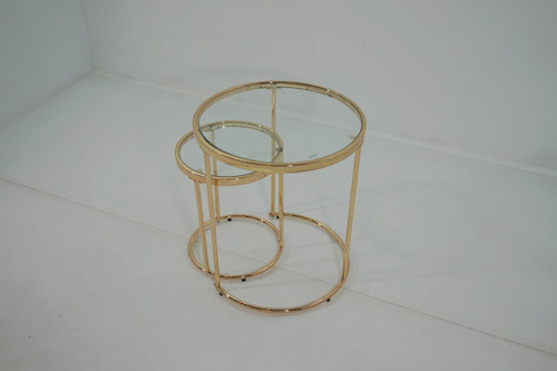 2-piece Round Glass Top Nesting Tables Gold