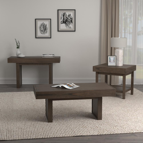 Living Room : Occasional Sets - Rectangle Sofa Table With Hidden Storage Wheat Brown