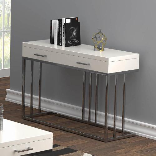 2-drawer Rectangular Sofa Table Glossy White And Chrome