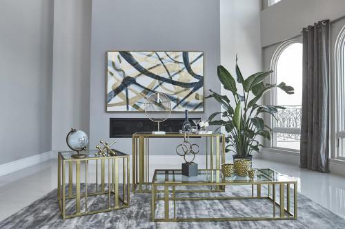 Eastbrook Metal Frame Sofa Table Matte Brass