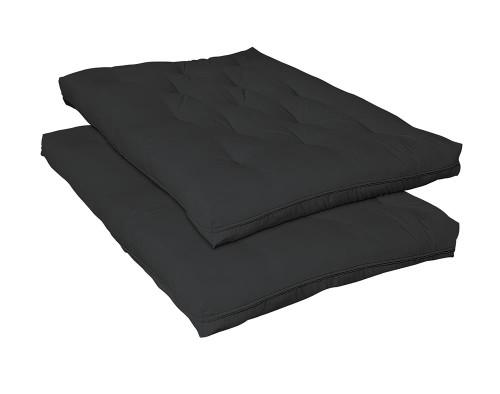 "Futon Mattresses - Black - 7.5"" Deluxe Innerspring Futon Pad Black"
