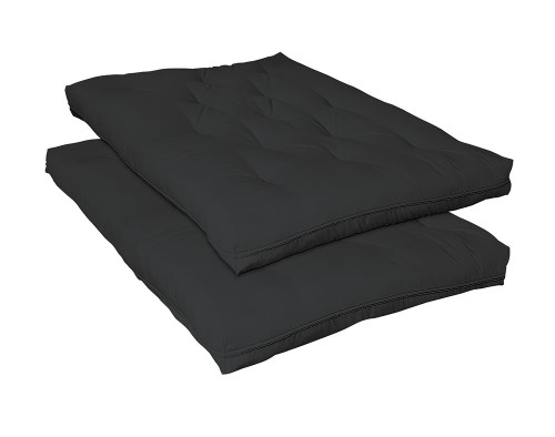 "Futon Mattresses - Black - 9"" Deluxe Innerspring Futon Pad Black"