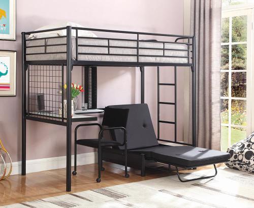 Jenner Workstation Loft Bed - Black - Jenner Futon Pad Black