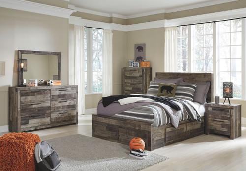 Derekson Multi Gray 9 Pc. Full Panel Bed with 6 Storage Drawers, Dresser, Mirror, Chest, Nightstand