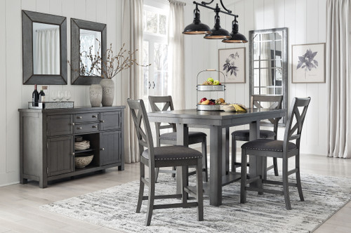 Myshanna Gray 6 Pc. Rectangular Dining Room Counter Extension Table, 4 Upholstered Barstools, Server