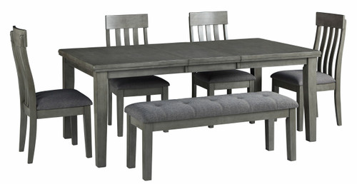 Hallanden Gray 6 Pc. Rectangular DRM Butterfly EXT Table, 4 Side Chairs, Dining Room Bench