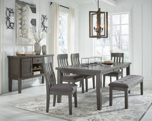 Hallanden Gray 7 Pc. Rectangular DRM Butterfly EXT Table, 4 Side Chairs, Dining Room Bench, Server