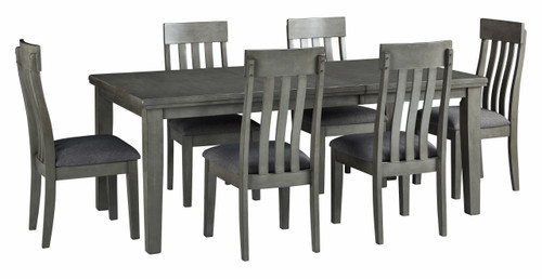 Hallanden Gray 7 Pc. Rectangular DRM Butterfly EXT Table, 6 Side Chairs