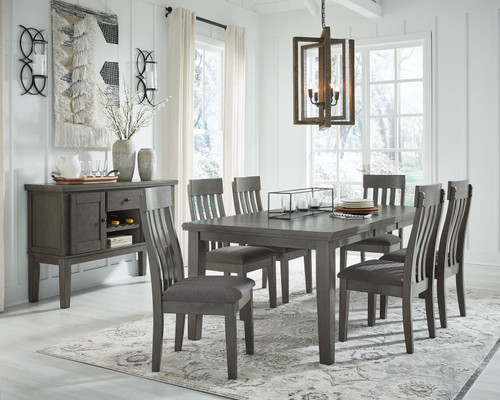 Hallanden Gray 8 Pc. Rectangular DRM Butterfly EXT Table, 6 Side Chairs, Dining Room Server