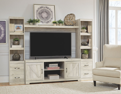 """Bellaby Whitewash 4 Pc. Entertainment Center 60"""" TV Stand"""
