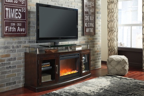 """Chanceen Dark Brown 2 Pc. 60"""" TV Stand with Fireplace Insert Glass/Stone"""