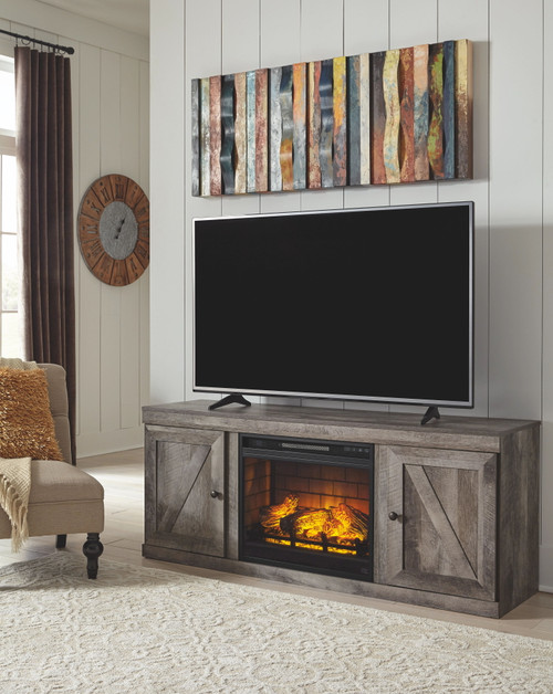 """Wynnlow Gray 2 Pc. 60"""" TV Stand with Faux Firebrick Fireplace Insert"""