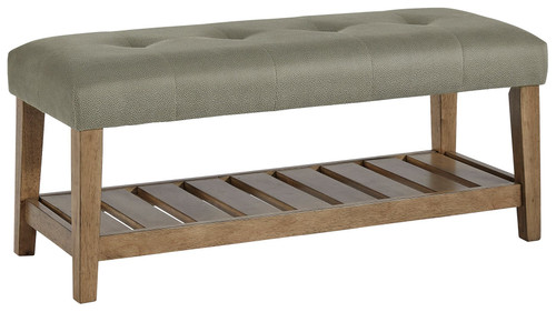 Cabellero Gray/Brown Upholstered Accent Bench