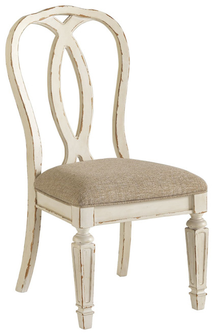 Realyn Chipped White Dining Upholstered Side Chair  (Set of 2)