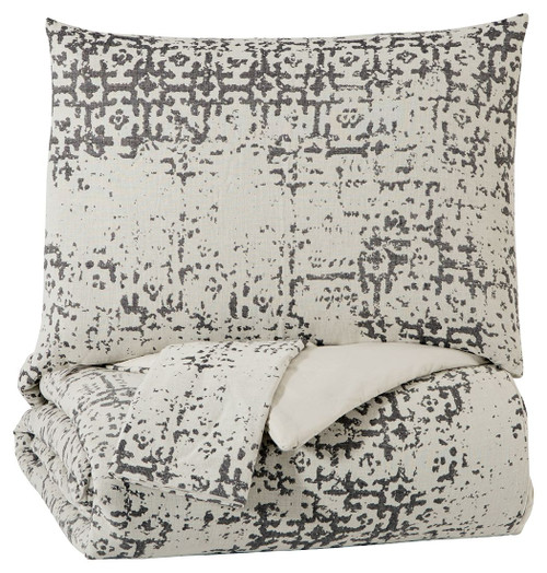 Addey Charcoal/Bone King Comforter Set
