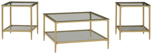 Zerika Gold Finish Occasional Table Set (3/CN)