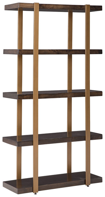 Beckville Gold Finish/Brown Bookcase