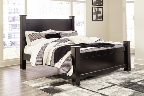 Mirlotown Almost Black King Poster Bed