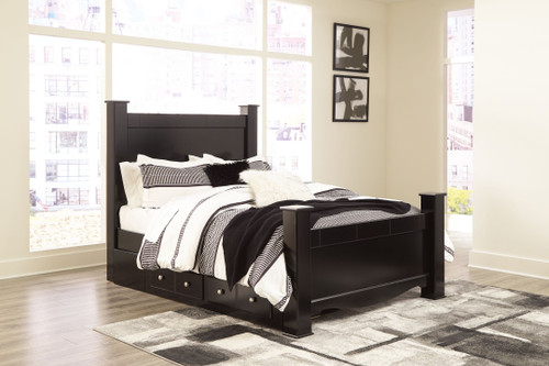 Mirlotown Almost Black Queen Poster Bed with Side Storage