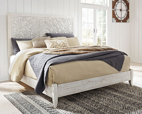 Paxberry Whitewash King Panel Bed