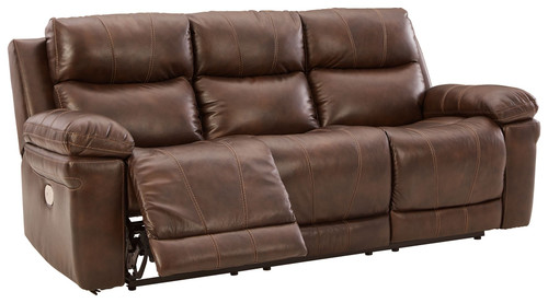 Edmar Chocolate Power Reclining Sofa with ADJ Headrest