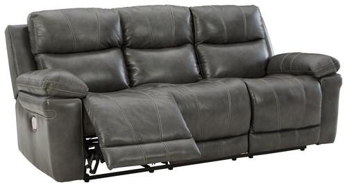 Edmar Charcoal Power Reclining Sofa with ADJ Headrest