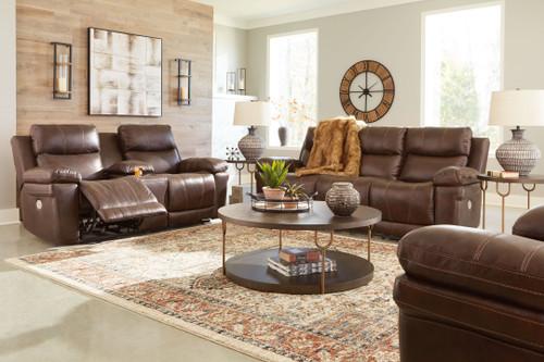 Edmar Chocolate 3 Pc. Power Reclining Sofa with Adjustable Headrest, Power Reclining Loveseat/CON/Adjustable Headrest, Power Recliner with Adjustable Headrest