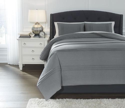 Mattias Slate Blue Queen Comforter Set