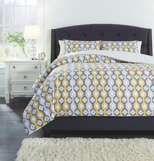 Mato Gray/Yellow/White Queen Comforter Set