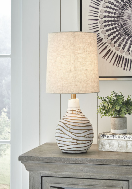 Aleela White/Gold Finish Metal Table Lamp (1/CN)