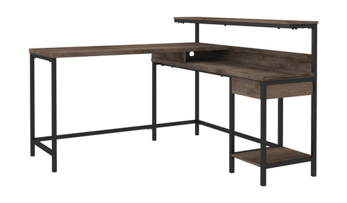Arlenbry Gray L-Desk with Storage