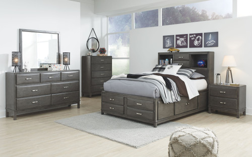 Caitbrook Gray 7 Pc. Dresser, Mirror, Full Storage Bed & 2 Nightstands