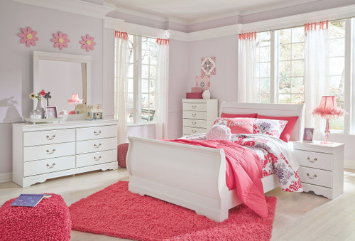 Anarasia White 7 Pc. Dresser, Mirror, Chest, Full Sleigh Bed & Nightstand