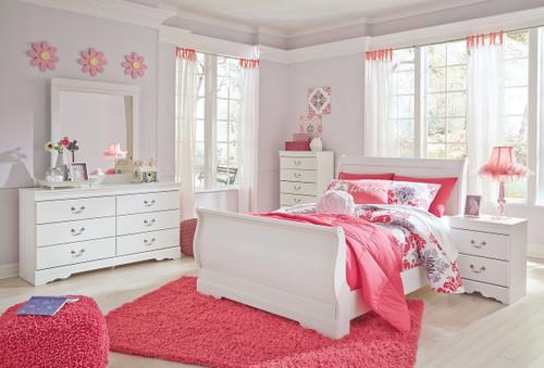 Anarasia White 5 Pc. Dresser, Mirror & Full Sleigh Bed
