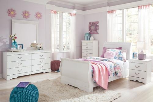 Anarasia White 6 Pc. Dresser, Mirror, Twin Sleigh Bed & Nightstand