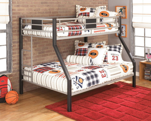 Dinsmore Black/Gray Twin/Full Bunk Bed w/Ladder