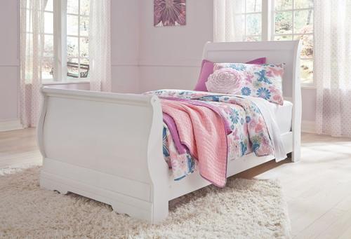 Anarasia White Twin Sleigh Bed