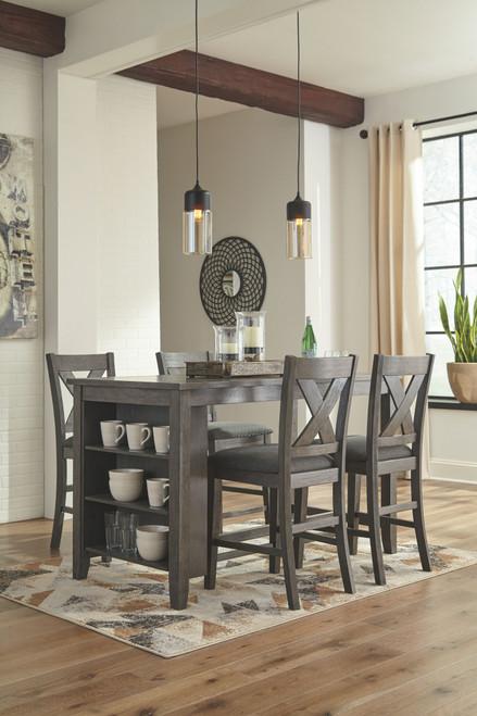 Caitbrook Dark Gray 5 Pc. Rectangular Counter Table & 4 Upholstered Barstools
