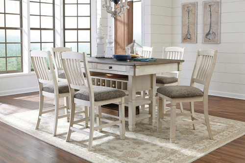 Bolanburg Antique White 7 Pc. Rectangular Counter Table & 6 Upholstered Barstools