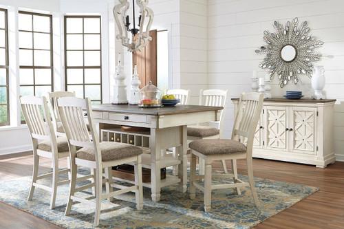 Bolanburg Antique White 8 Pc. Rectangular Counter Table, 6 Upholstered Barstools & Server