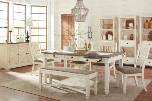 Bolanburg Antique White 10 Pc. Rectangular Table, 4 Upholstered Side Chairs, Upholstered Bench, Server & 3 Display Cabinets