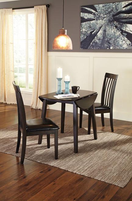 Hammis Dark Brown 3 Pc. Round Drop Leaf Table & 2 Upholstered Side Chairs