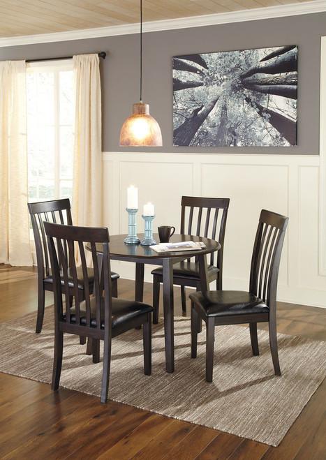 Hammis Dark Brown 5 Pc. Round Drop Leaf Table & 4 Upholstered Side Chairs