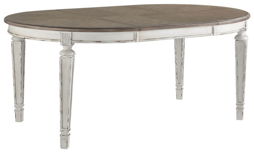 Realyn Chipped White Oval Dining Room Extension Table