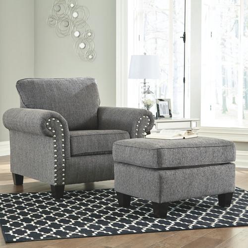 Agleno Charcoal Chair with Ottoman