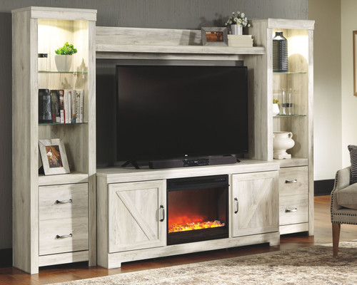 Bellaby Whitewash Entertainment Center LG TV Stand, 2 Piers, Bridge with Fireplace Insert Glass/Stone