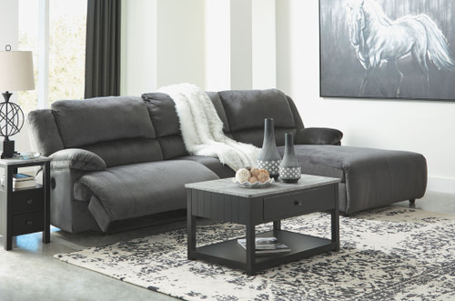 Clonmel Charcoal LAF Zero Wall Power Recliner, Armless Chair & RAF Press Back Power Chaise Sectional